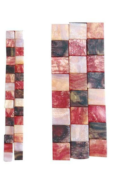 Mosaik Marmorierter Mix - 10 x 10 mm, rot