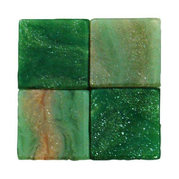 Mosaik Marmorierter Mix - 10 x 10 mm, grün