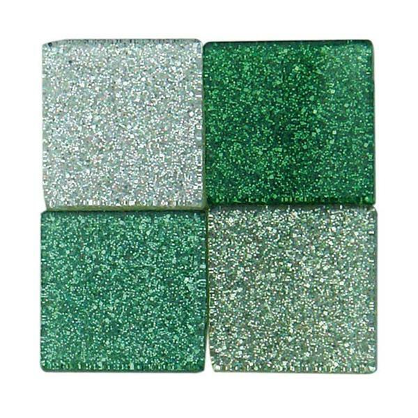 Mosaïque mélange pailletée - 10 x 10 mm, vert