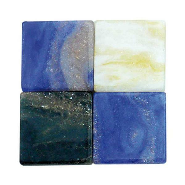 Mosaik Marmorierter Mix - 10 x 10 mm, blau