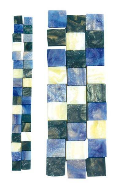 Mosaïque mélange marbré - 10 x 10 mm, bleu