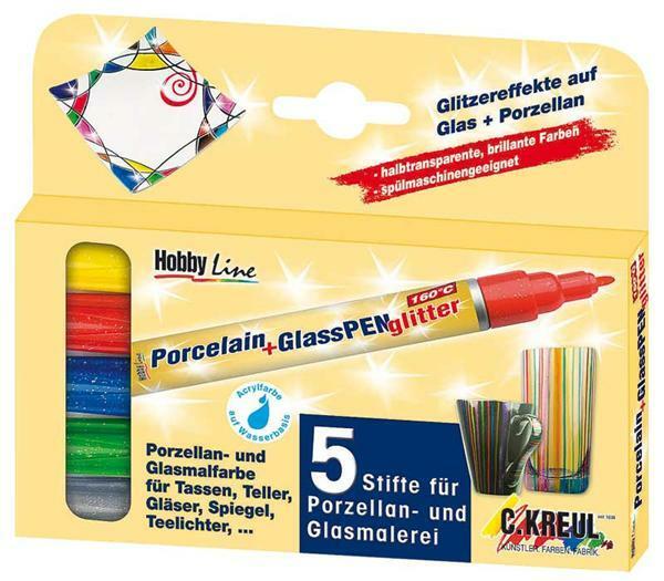 Porselein- en glasstiften - 5 stuks, glitter