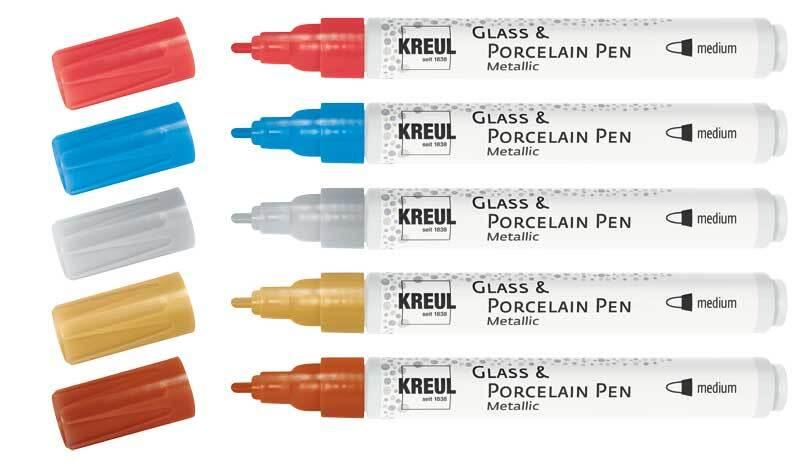 Porselein- en glasstiften - 5 stuks, metallic