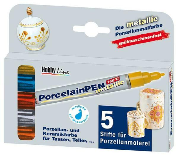 Porzellanmaler - 5er Set, metallic
