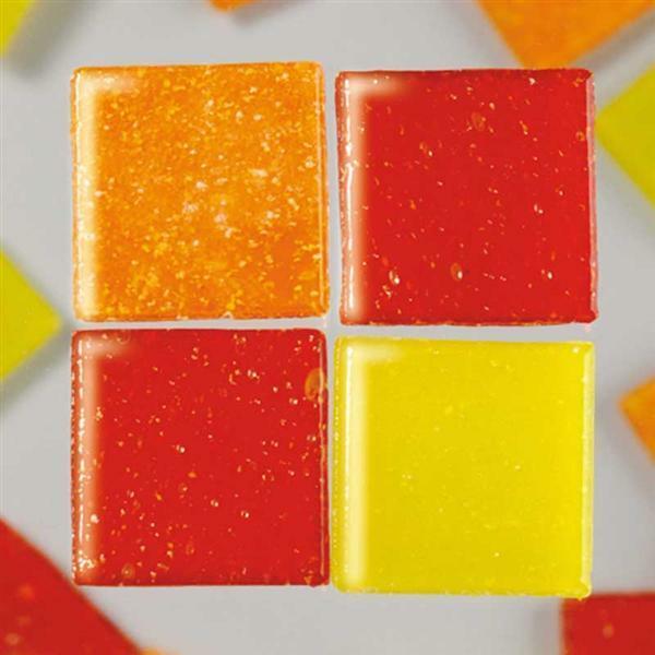 Mozaïek glasstenen 1000 g - 10 x 10 mm, rood mix