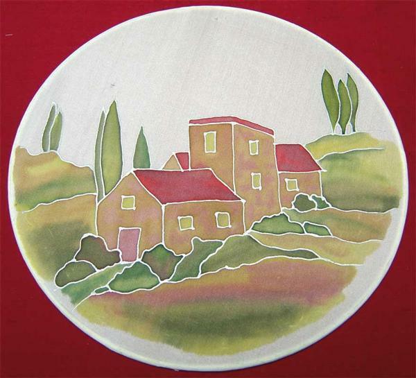 Raamdecoratie van zijde pongé, Ø 20 cm
