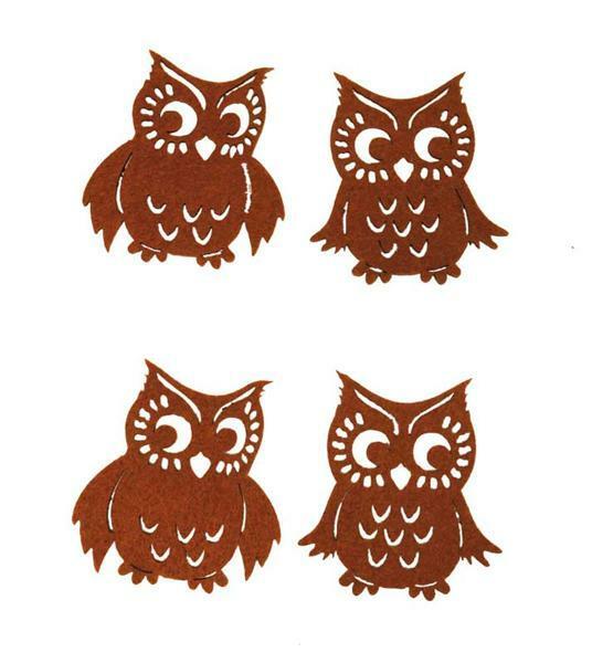 Vilten decoratiedelen - uilen, bruin