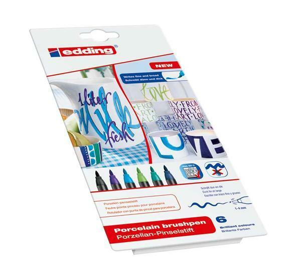 Edding porselein-penseelstift set - 6 stuks, blauw