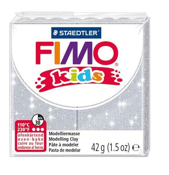 Fimo kids - 42 g, glitter zilver