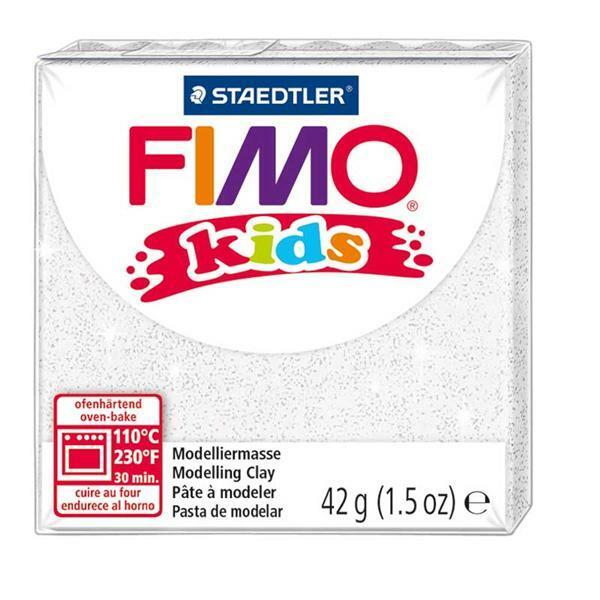 Fimo kids - 42 g, glitter weiß