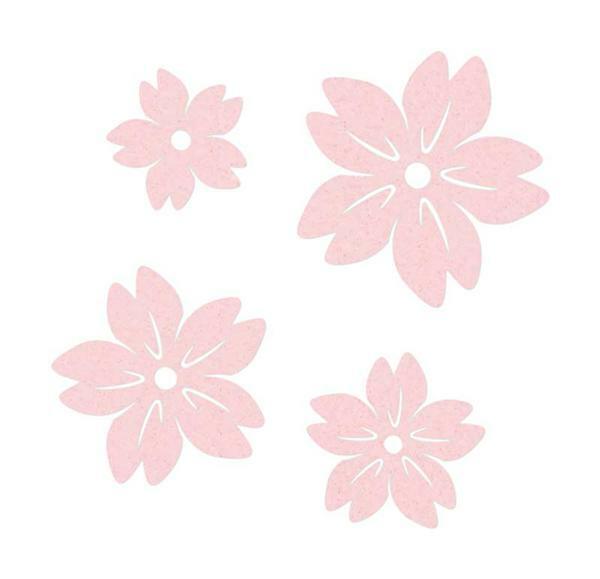 Vilten decoratie delen - bloemen, lichtroze