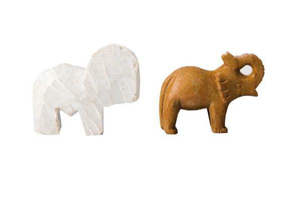 Speksteen grof voorbewerkt, olifant met slurf naar