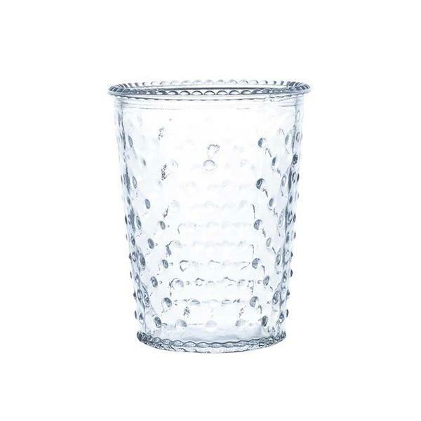 Glazen vaas - conisch, met stippen, 12 cm