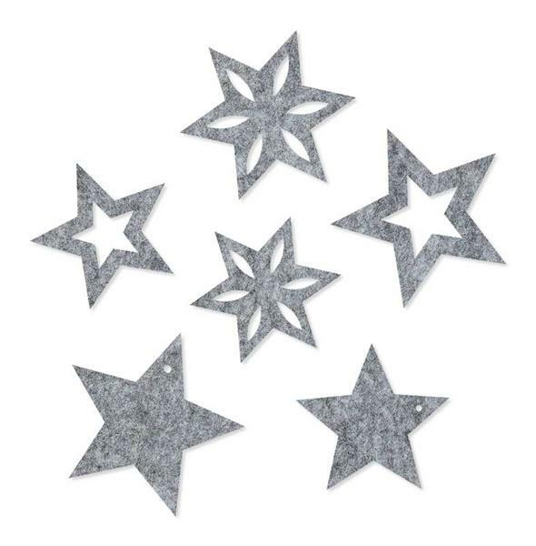 Vilten decoratiedelen - sterren, grijs