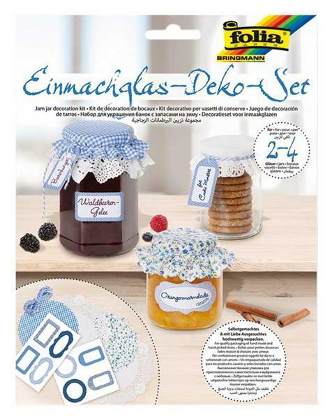 Einmachglas Deko Set - hellblau/dunkelblau