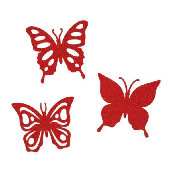 Vilten decoratiedelen - vlinders, rood