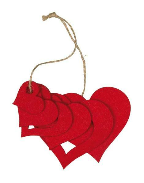 Filz Dekoteile Herzen - rot