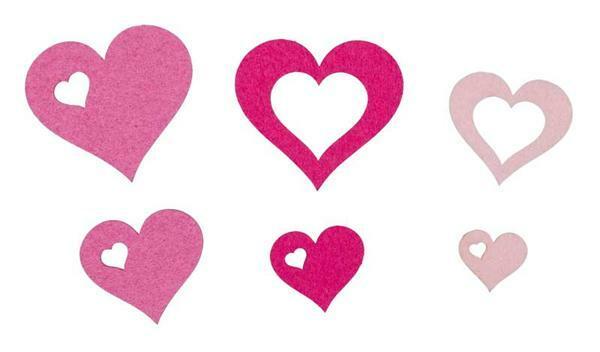 Filz Dekoteile Herzen - pink
