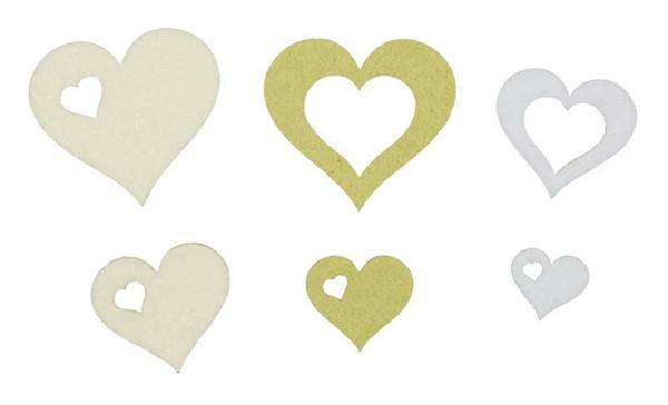 Vilten decoratiedelen hartjes - groen