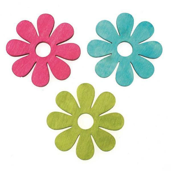 Strooidelen - houten bloemen, 3-kleurig