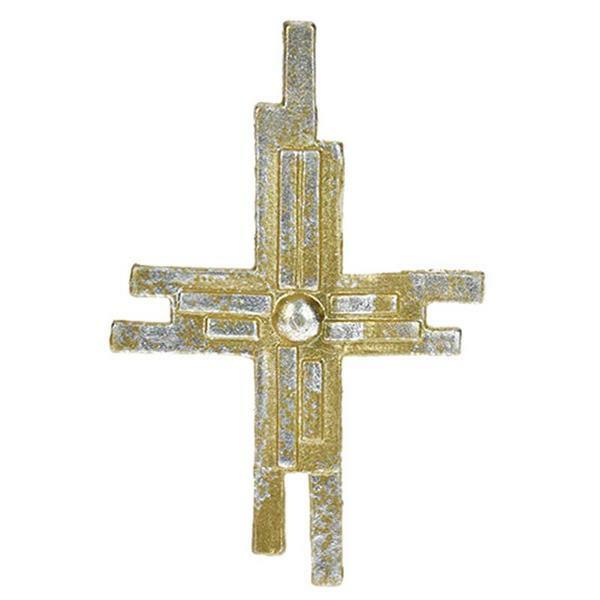 Wachsdekor - Kreuz, gold/silber