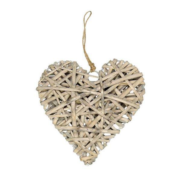 Rieten hart hanger - 20 cm
