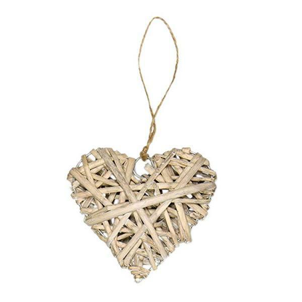 Rieten hart hanger - 10 cm