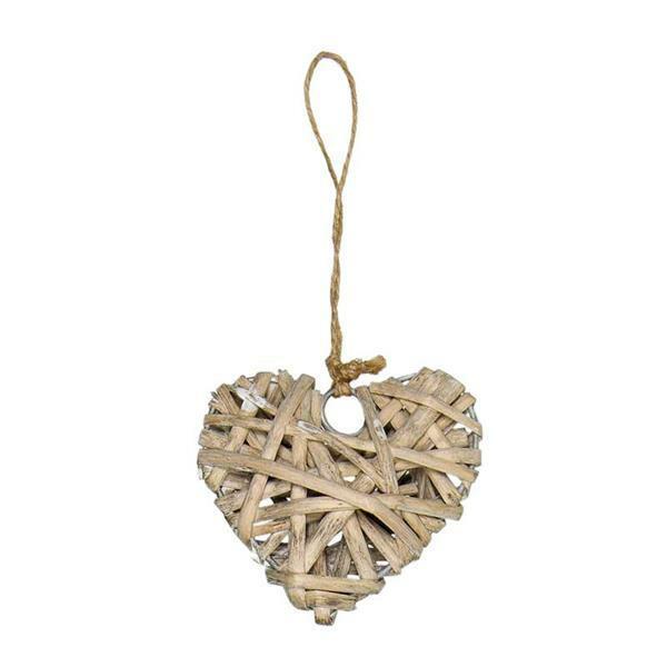 Rieten hart hanger - 7 cm