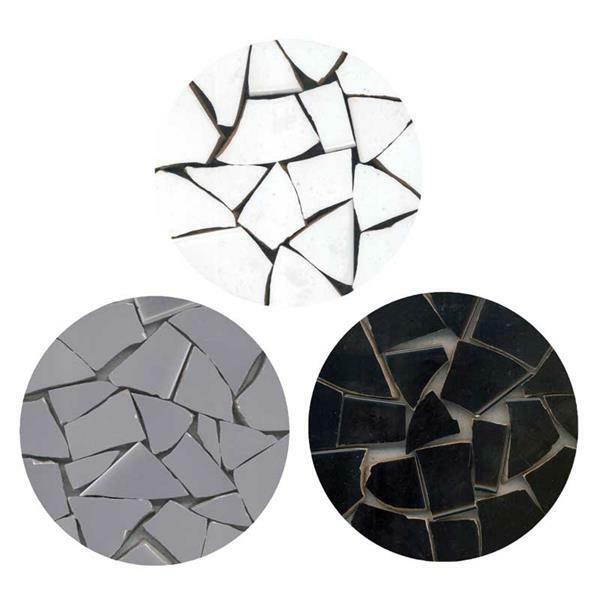 Mosaik Keramik Bits - 1000 g, schwarz/grau/weiß