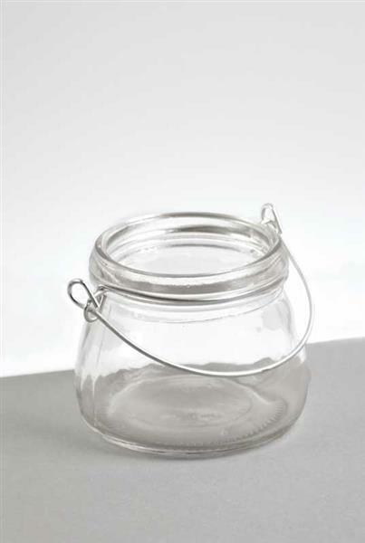 Mini Windlicht aus Glas mit Henkel, Ø 7,5 cm,