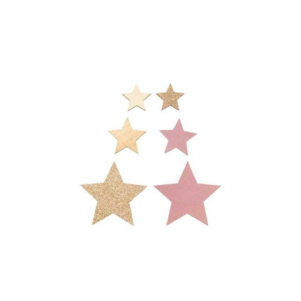 Houten strooidelen - sterren - naturel-roze-goud