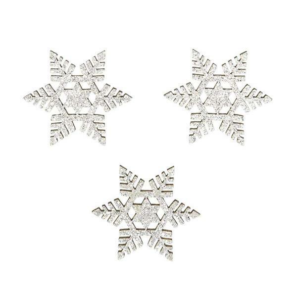 Holzsortiment - Schneeflocken, silber-glitter