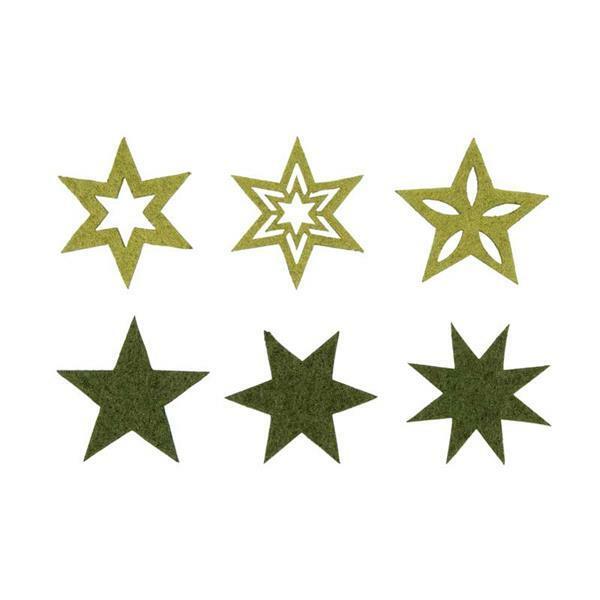 Vilten decoratiedelen - sterren, groen