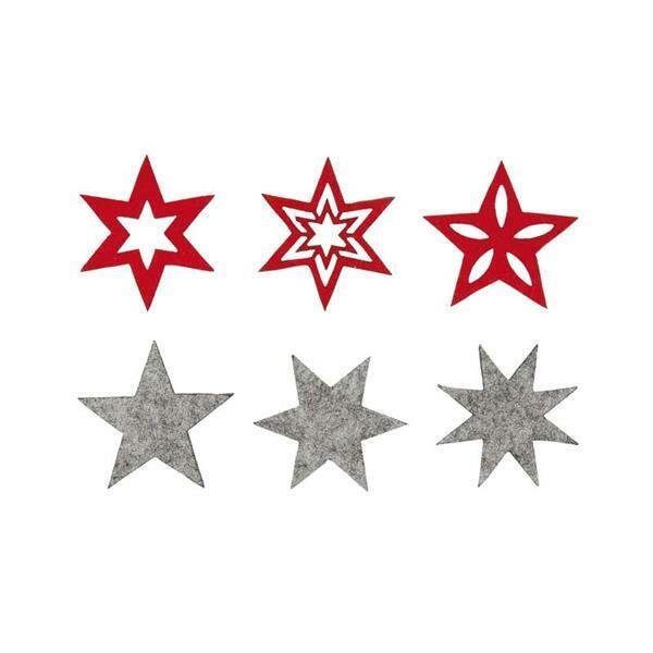 Vilten decoratiedelen - sterren, rood-grijs