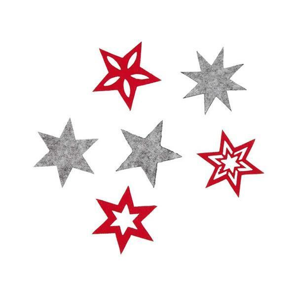 Filzsortiment - Sterne, rot-grau