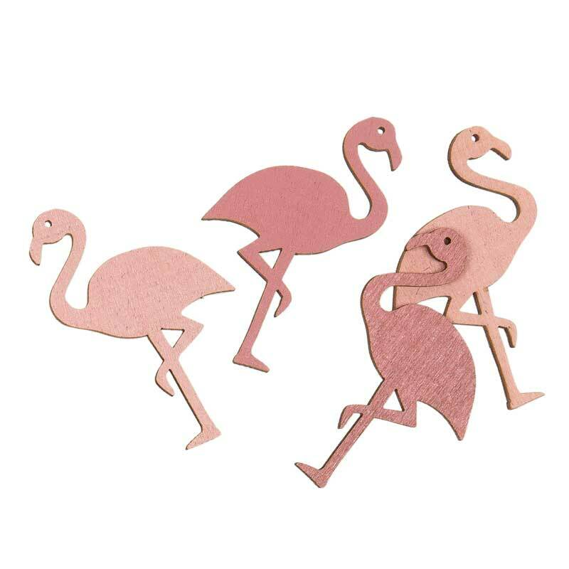 Holz Dekoteile - Flamingo, pink