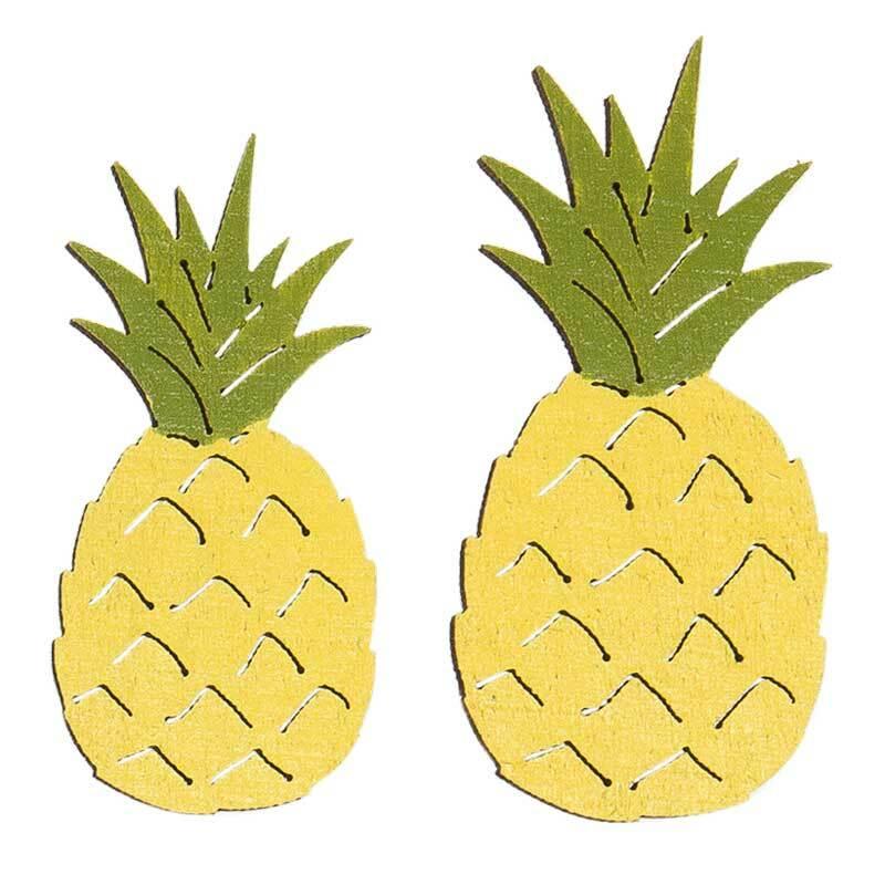 Eléments déco en bois - Ananas, jaune-vert