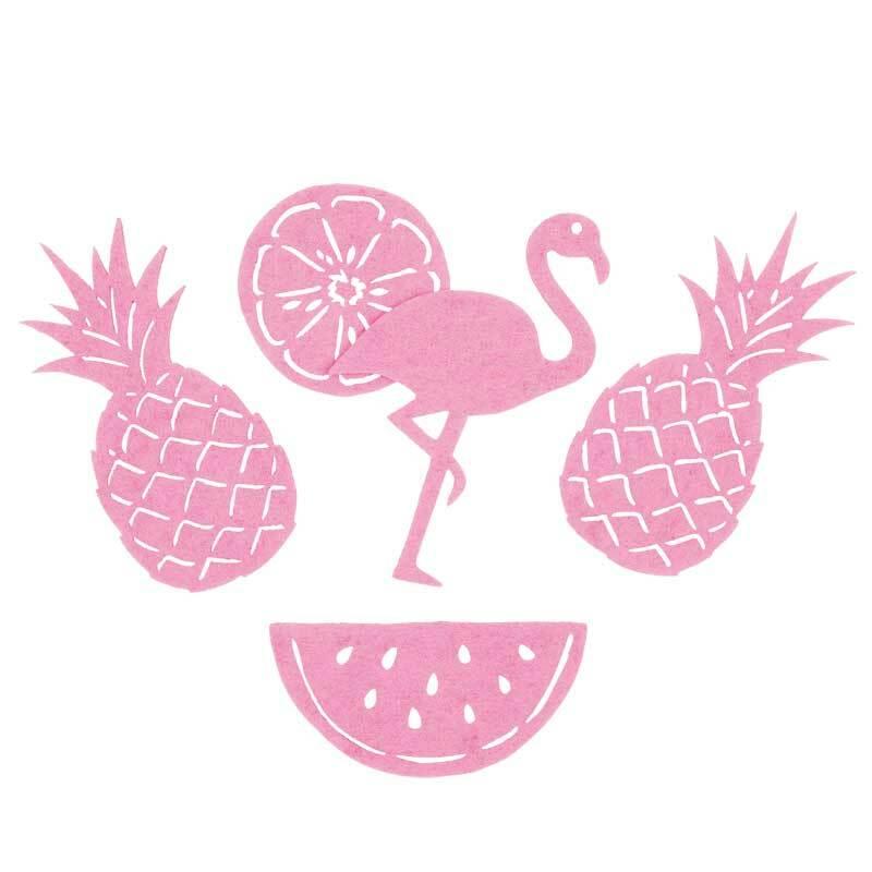 Filz Dekoteile - Tropical, rosa