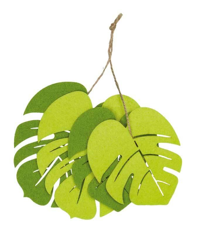 Vilten decoratiedelen - Monstera bladeren, groenmi