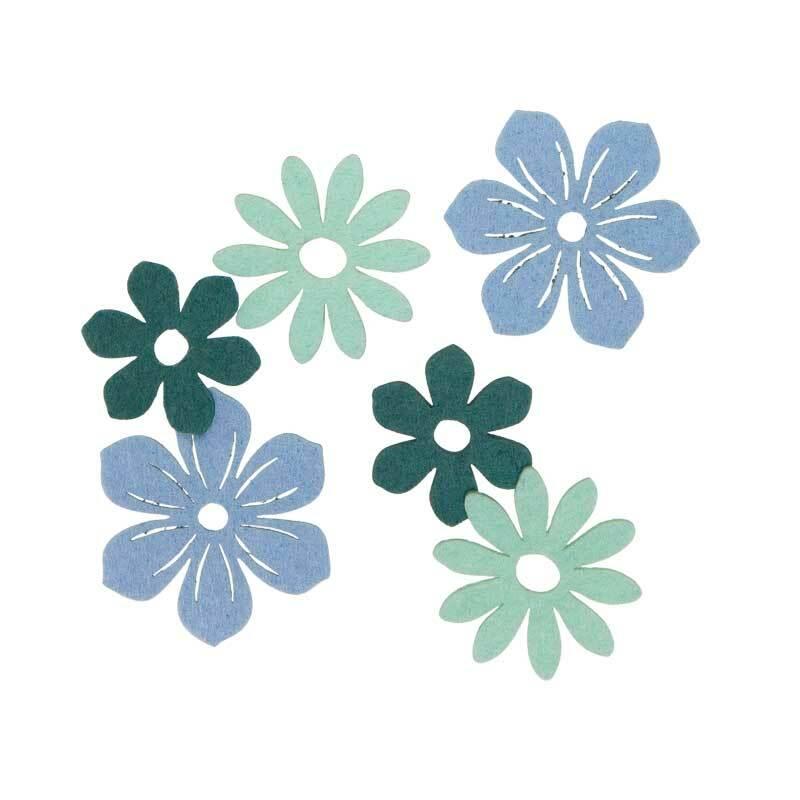 Filz Dekoteile - Blüten, blaumix