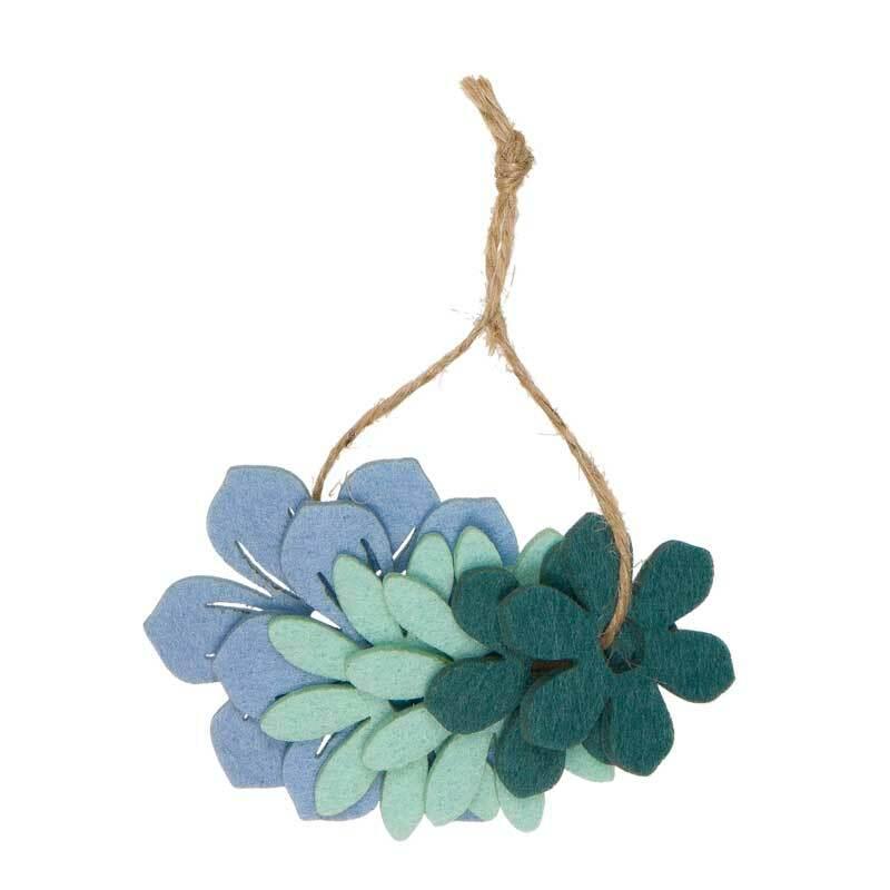 Vilten decoratie delen - bloemen, blauwmix