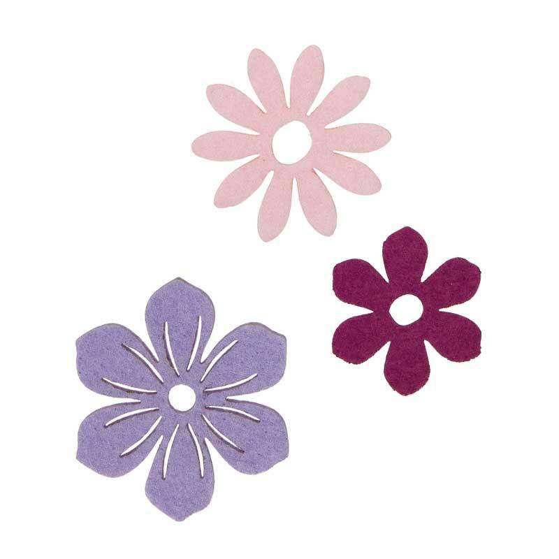 Filz Dekoteile - Blüten, violettmix