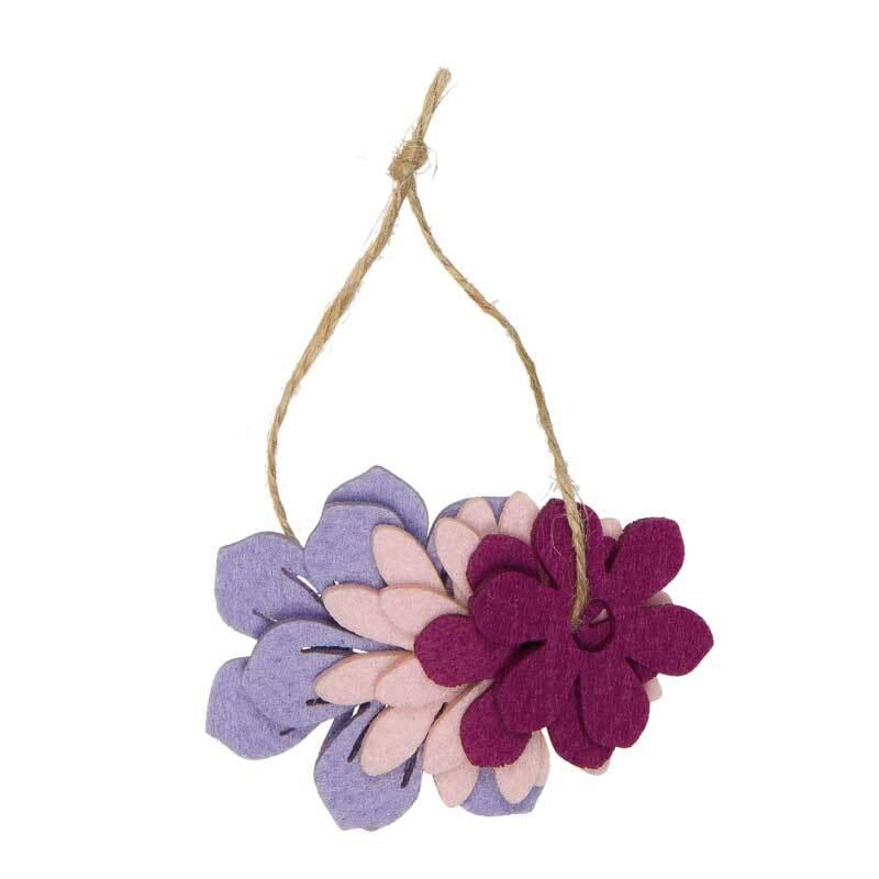Vilten decoratie delen - bloemen, paarsmix