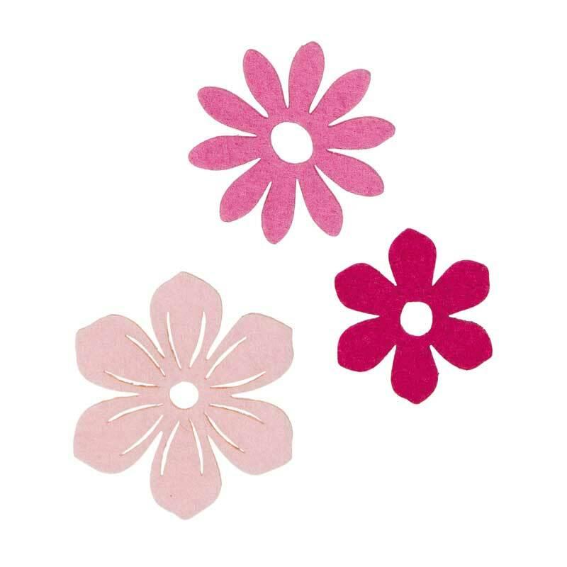 Vilten decoratie delen - bloemen, zuurstokroze