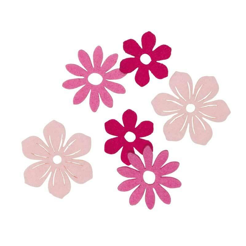 Filz Dekoteile - Blüten, pinkmix