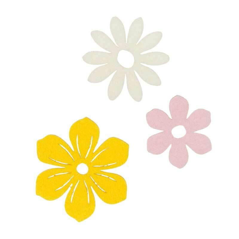 Vilten decoratie delen - bloemen, geelmix