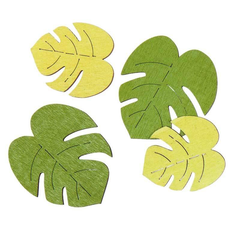 Holz Dekoteile - Monstera Blätter, grünmix
