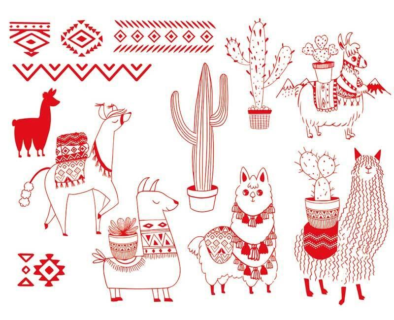 Set de tampons - Textile, Lamas