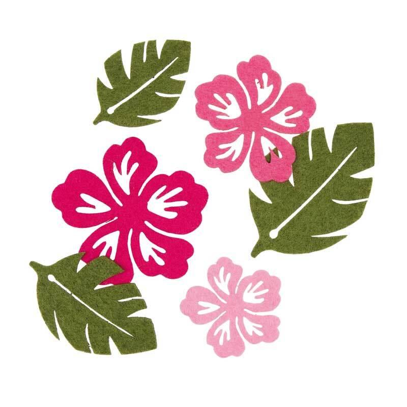 Vilt assortiment - bloemen/bladeren, roze-groen
