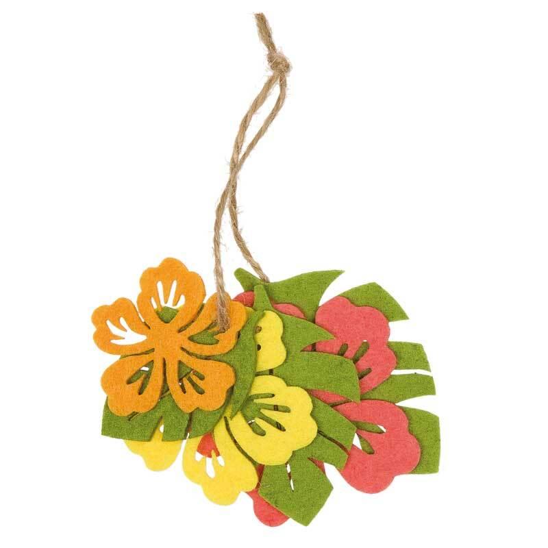 Vilt assortiment - bloemen/bladeren, oranje-groen